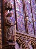 PARYŻ FRANCJA, Marzec, -, 2016: Wnętrze sławny święty Chapelle, Paryż Obrazy Royalty Free