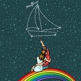 Pary kobiety i mężczyzna sen jacht pływa statkiem royalty ilustracja