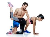 Pary kobiety i mężczyzna sprawności fizycznej ćwiczenia odizolowywający zdjęcie royalty free