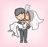Pary kreskówka w dniu ślubu obrazy stock