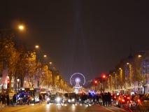 Paryż, listopad 26,2016: Iluminacja na czempion alei Fotografia Royalty Free