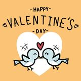 Pary miłości ptak na valentine dnia doodle royalty ilustracja