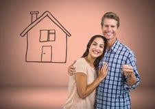 Pary mienia klucz z domowym rysunkiem przed winietą Obrazy Stock