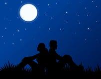 pary miłości noc Obrazy Royalty Free
