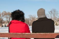 Pary obsiadanie Na ławce W zimie Obraz Stock