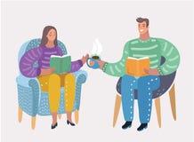 Pary obsiadanie na krzesło czytelniczych książkach wakacje ilustracja wektor