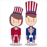 Pary odzieży świętowania usa Ameryka patriotyzmu Lipa kostium fourth paskuje używać wujek sam kapeluszowego wektorowego ilustrato ilustracja wektor