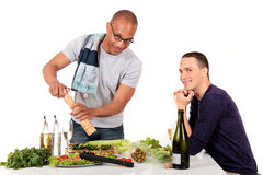pary pochodzenia etnicznego homoseksualna kuchnia mieszająca Obrazy Stock