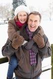 pary pozycja krajobrazowa starsza śnieżna Fotografia Stock