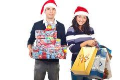 pary prezentów szczęśliwy nabywający Zdjęcia Stock