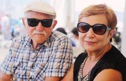 pary starzy ludzie portreta seniora dwa zdjęcia royalty free