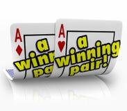 Pary Wygrani karta do gry Dwa as Pomyślny Team Partners Fotografia Royalty Free