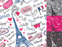 Paryscy symbole, pisze list bezszwowego wzór Ręka Obraz Royalty Free