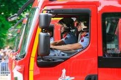 Paryska jednostka straży pożarnej, jest Francuskim jednostką wojskową który słuzyć jako pożarnicza usługa dla Paryż Zdjęcia Royalty Free