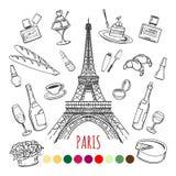 Paryska kolorystyki strona z kolorów swatches ilustracji