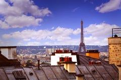 Paryska linii horyzontu antena od Montmartre Obraz Stock