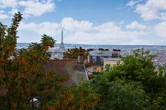 Paryska linii horyzontu antena od Montmartre Zdjęcia Royalty Free