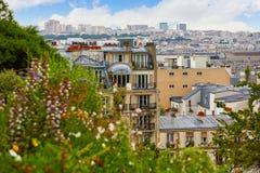 Paryska linii horyzontu antena od Montmartre Zdjęcie Royalty Free