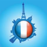 Paryska linii horyzontu flaga kuli ziemskiej sylwetka Zdjęcie Stock