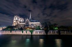 Paryska Notre Damae katedra nocą od wonton rzeki Obraz Stock