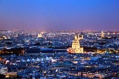 Paryska panorama, Francja przy nocą. Fotografia Royalty Free