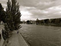 Paryska wonton rzeka pod chmurnymi niebami fotografia royalty free