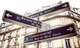 Paryski drogowy znak Fotografia Royalty Free