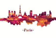 Paryski Francja linia horyzontu w czerwieni royalty ilustracja