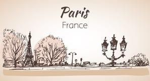 Paryski horyzontalny cityspace nakreślenie royalty ilustracja