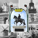 Paryski kolaż w czarny i biały Zdjęcie Stock