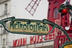 Paryski metra Metropolitain znak Zdjęcie Royalty Free