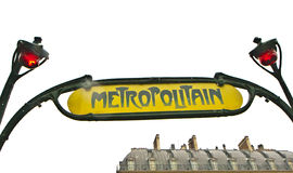 Paryski metra Metropolitain znak odizolowywający na bielu Zdjęcia Royalty Free