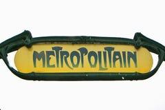Paryski metra Metropolitain znak odizolowywający na bielu Fotografia Royalty Free