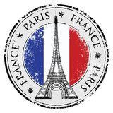 Paryski miasteczko w Francja grunge znaczku, wieża eifla wektor Zdjęcia Royalty Free