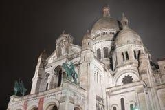 Paryski ` Sacre Coeur przy nocą Zdjęcia Stock