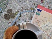 Paryski temat Francja symboli/lów układu płaski tło fotografia stock