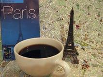 Paryski temat Francja symboli/lów układu płaski tło obraz stock