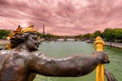 Paryski widok dla Aleksander III mosta Obraz Stock
