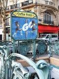 Paryskiego metra Wejściowa sztuka Nouveau Victor Hugo Francja Zdjęcia Royalty Free