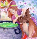 parzenie haloween s czarownicy Zdjęcie Royalty Free