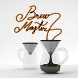 Parzenie mistrzowska kawowa wycena z szklanym 3D renderingiem Obrazy Stock