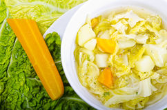 Parzybroda-Savoy cabbage soup. Parzybroda a Polish regional savoy cabbage soup Stock Images