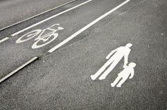 pasów ruchów rowerowy pieszy rezerwował Fotografia Stock