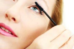 Pas mascara op blauw oog toe Royalty-vrije Stock Afbeelding
