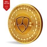 Pas mentionné ailleurs Crypto devise pièce de monnaie 3D physique isométrique Devise de Digital Pièce de monnaie d'or avec pas me Image libre de droits