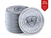 Pas mentionné ailleurs Crypto devise pièces de monnaie 3D physiques isométriques Devise de Digital Pile de pièces en argent avec  illustration libre de droits
