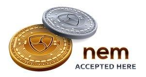 Pas mentionné ailleurs Emblème admis de signe Crypto devise Pièces d'or et en argent avec pas mentionné ailleurs le symbole d'iso illustration libre de droits