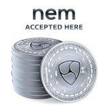 Pas mentionné ailleurs Emblème admis de signe Crypto devise Pile de pièces en argent avec pas mentionné ailleurs le symbole d'iso illustration stock