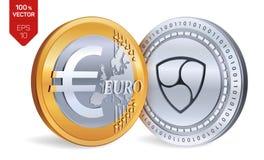 Pas mentionné ailleurs Euro pièce de monnaie pièces de monnaie 3D physiques isométriques Devise de Digital Cryptocurrency Les piè Photo stock