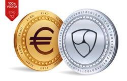 Pas mentionné ailleurs Euro pièce de monnaie pièces de monnaie 3D physiques isométriques Devise de Digital Cryptocurrency Les piè Image libre de droits